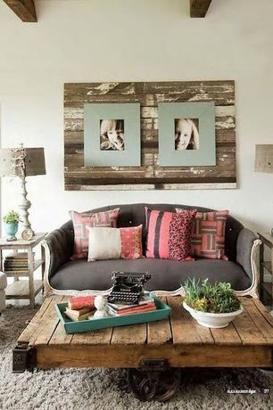 Eclectic Living Room with Accents by Jay Olive Collection Rectangle Serving Tray, Neutral area rug, Reclaimed wood, Vintage