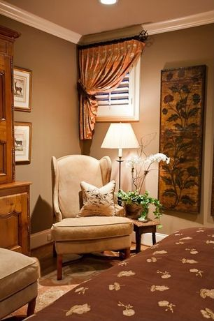 Traditional Guest Bedroom with Carpet, Crown molding