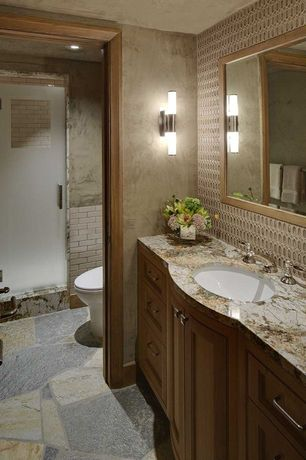 Craftsman 3/4 Bathroom with terracotta tile floors, Powder room, Wall sconce, Inset cabinets, Complex marble counters