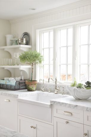 Cottage Kitchen with Inset cabinets, Flat panel cabinets, Open shelving, One-wall, Crown molding, Farmhouse sink
