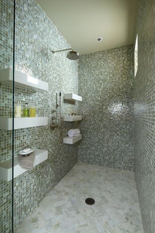 Contemporary Full Bathroom with Rocky Point Tile Beach Break Aqua 1x1 Hand Painted Glass Mosaic Tiles, Rain shower