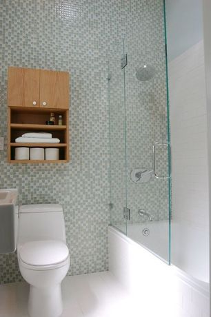 Contemporary 3/4 Bathroom with Farmhouse sink, Flush, Hammersmith subway tile, Flat panel cabinets, Built-in bookshelf