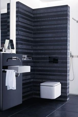 Contemporary 3/4 Bathroom with Roca - element wc, Pental - parc, charcoal matte 24x24, Paint, Roca - element basin