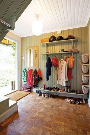 Cottage Mud Room with Laminate floors, flush light