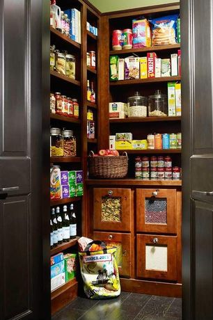 Traditional Pantry with stone tile floors, Engineered hardwood flooring, soapstone tile floors, Standard height, French doors