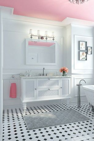 Contemporary Full Bathroom with Flat panel cabinets, Paint 3, Crown molding, Paint 2, Complex marble counters, Paint 1