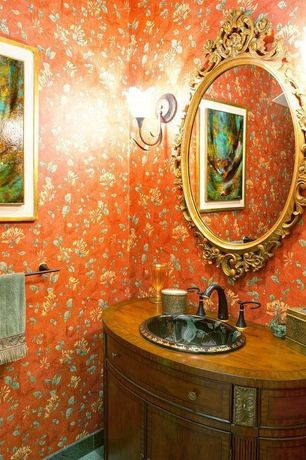 Eclectic Powder Room with Howard Elliott Ornate Dorsiere Wall Mirror, Feiss Romana Collection Tulip Glass Wall Sconce