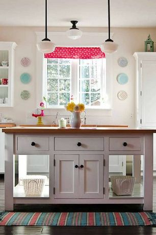 Traditional Kitchen with School house pendant light, Wood counters, Schoolhouse flush mount ceiling light, One-wall, Casement
