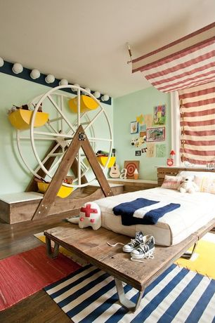 Contemporary Kids Bedroom with American vintage mountainside oak solid scraped hardwood flooring