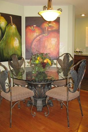 Eclectic Dining Room with Standard height, Pendant light, Hardwood floors