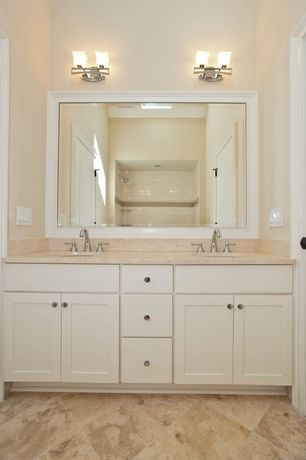 Traditional 3/4 Bathroom with Undermount sink, Simple granite counters, Design Classics Lighting - Modern Bathroom Light