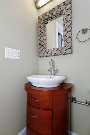"Contemporary Powder Room with Powder room, Pegasus 23 3/4"" Round Vessel Vanity & Sink BBD714106, Wood counters, Vessel sink"