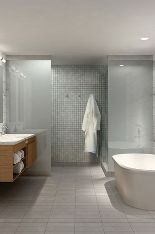 Contemporary Master Bathroom with rectangular mirror, Drop-in sink, Bathtub, can lights, Wall Tiles, Custom shower, Shower