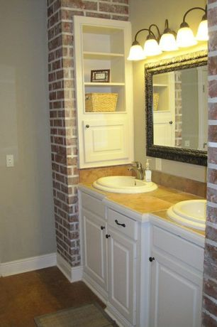 Modern Full Bathroom with Double sink, Simple marble counters, partial backsplash, Standard height, Flush, Concrete floors