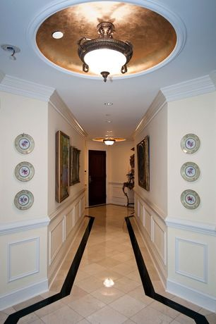 Traditional Hallway with Crown molding, flush light, Wainscotting