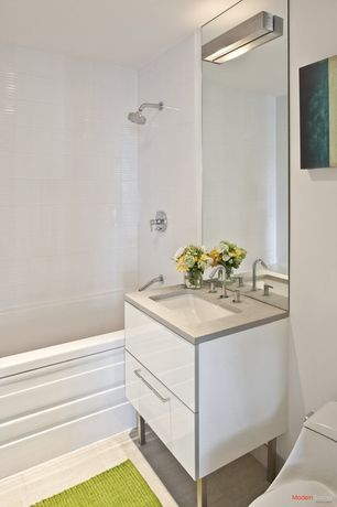 Contemporary Full Bathroom with stone tile floors, Console sink, Paint, wall-mounted above mirror bathroom light, Full Bath