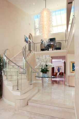 Contemporary Staircase with Pendant light, complex marble floors