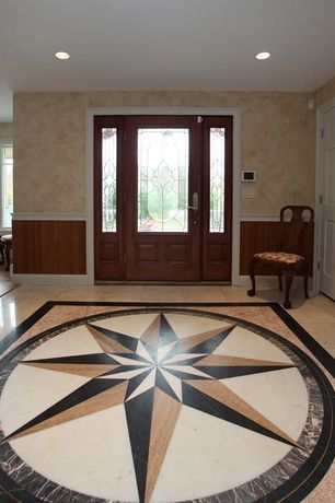 Traditional Entryway with Glass panel door, complex marble floors, specialty window, Chair rail, picture window, can lights