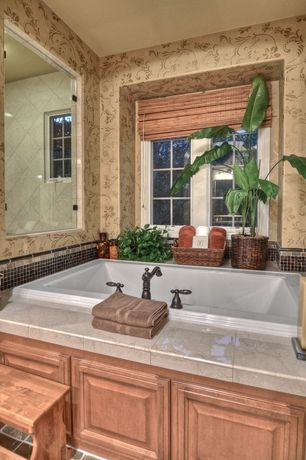 Country Master Bathroom with Town Square 5 ft. Acrylic/Fiberglass Bathtub with Reversible Drain in White