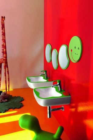 Contemporary Kids Bathroom with Laufen flora kids caterpillar mirror segment 300x375 mm, Undermount bathroom sink, Paint 3