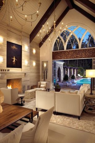 Contemporary Living Room with High ceiling, Pental Pluvium Porcelian Tile - Pietra, Arched window, Wave Square Wall Sconce