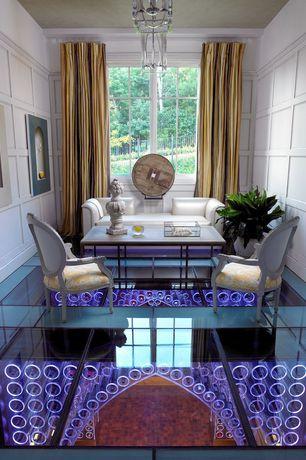 Contemporary Living Room with Ballard designs oval louis xvi back armchair, Concrete floors, Art niche, Chandelier