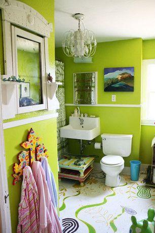 Contemporary Kids Bathroom with Paint 1, Casement, Chandelier, Paint 2, curtain showerdoor, Standard height, Pedestal sink
