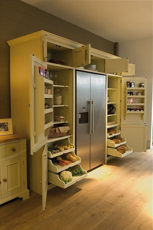 Contemporary Pantry with Built-in bookshelf, Standard height, Neptune grand larder unit, Hardwood floors