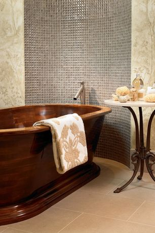 Contemporary Full Bathroom with Signature hardware - kaela copper pedestal air tub, Freestanding, interior wallpaper, Mural