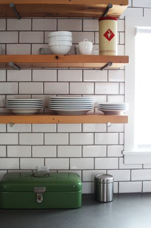 Contemporary Kitchen with Stone Tile, Ms international - gray soapstone, One-wall, Soapstone counters, White subway tile