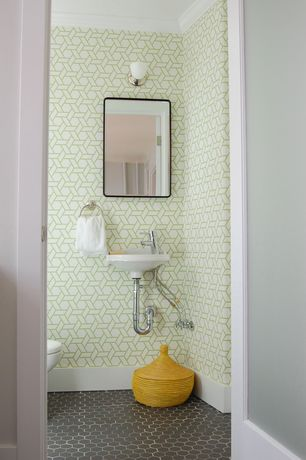 Contemporary Powder Room with wall-mounted above mirror bathroom light, Crown molding, Interlocking Pavers, flat door