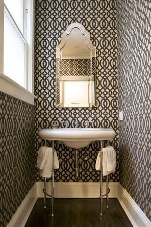 "Contemporary Powder Room with PID Floors Espresso Laminate Flooring, Bamboo floors, Uttermost Hovan 44"" High Wall Mirror"