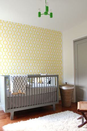 Contemporary Kids Bedroom with World Market Trista Seagrass Round Hamper, Pendant light, Armstrong Flooring - Oak in Amber