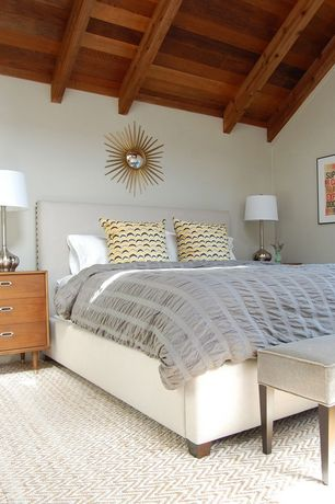 Contemporary Guest Bedroom with High ceiling, Exposed beam, Carpet