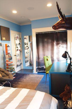 Contemporary Kids Bedroom with Concrete floors, Mural, Built-in bookshelf