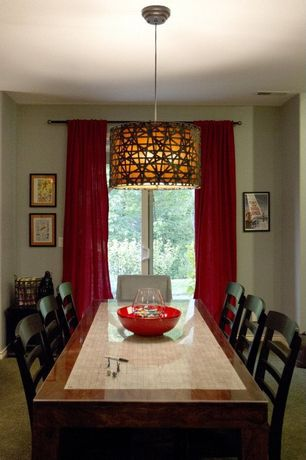 Contemporary Dining Room with Pendant light, Standard height, French doors, Carpet