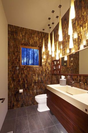 Contemporary Powder Room with Powder room, MS International Copper Leaf 1x3x8mm Glass Mosaic, Undermount sink, Pendant light