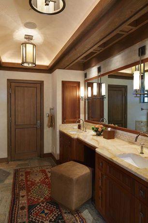 Mediterranean Master Bathroom with Stone Source, Cappucino Onyx, Red/Orange, Powder room, Penny Tile, Undermount sink