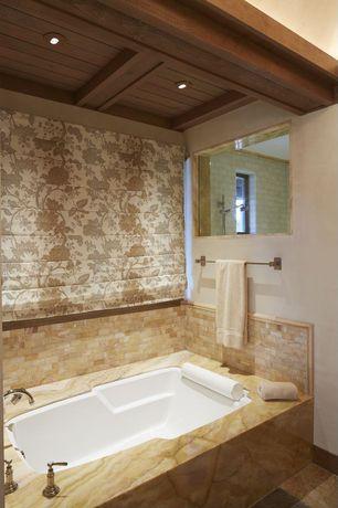 Traditional Master Bathroom with Rain shower, Splashback Tile Baroque Pearls Mini Brick Pattern Floor and Wall Tile Sample