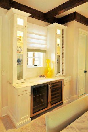 Contemporary Bar with six panel door, Standard height, Casement, Built-in bookshelf, Exposed beam, Concrete tile