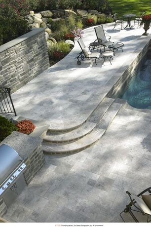 Traditional Patio with Pathway, Pond, exterior tile floors