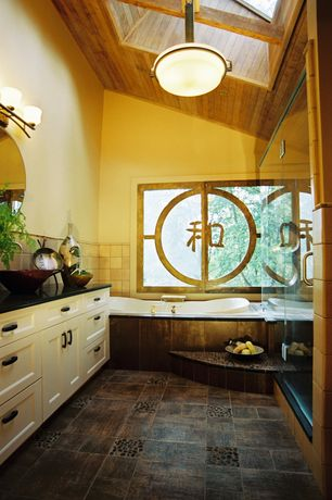 Asian Master Bathroom with Splashback tile flat 3d pebble rock multicolor stacked marble mosaic floor and wall tile