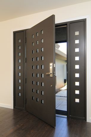 Modern Front Door with Sidelights with square cutouts, Steel door with square cutouts, Steel doorframe