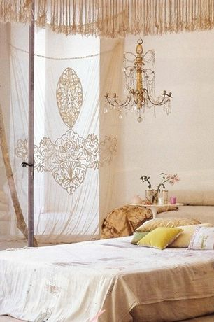 Eclectic Master Bedroom with Vaxcel USA NCCHU006GW 6 Light Crystal Chandelier Lighting Fixture in White, Gold, Crystal
