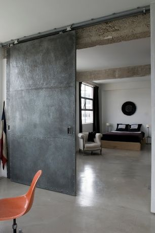 Contemporary Master Bedroom with Jofran grace tufted chair, Copley Platform Bed, Steampunk Scrap Metal Door, Barn door