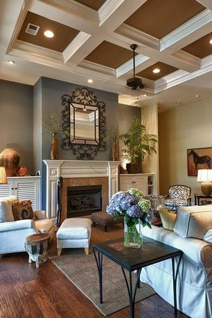 Traditional Living Room with can lights, Heathered Chenille Jute Rug, Coffered ceiling, Paint 2, Fireplace, Paint 1