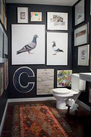 Contemporary Powder Room with Sterling white rockton round front dual flush toilet, Gallery wall