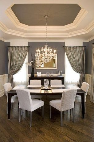 Contemporary Dining Room with Hardwood floors, Wainscoting, Draped curtains, Crown molding, Upholstered dining chair