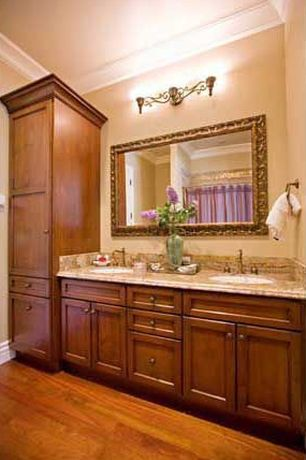 Traditional Full Bathroom with Crown molding, Eurofase 3 Light Beatrice Bathroom Light, Laminate floors, Complex Marble
