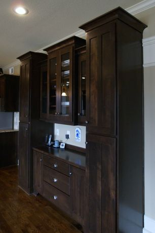 Traditional Kitchen with Glass panel, One-wall, Crown molding, Wood counters, Flat panel cabinets